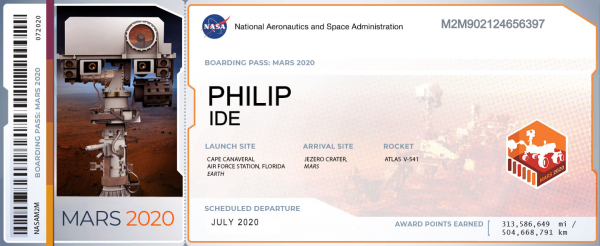 NASA Boarding pass for Mars 2020 Mission