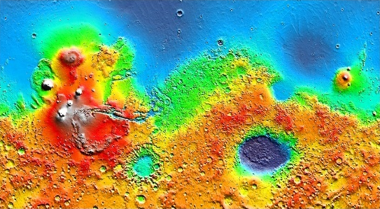 MOLA map of Mars coloured by elevation